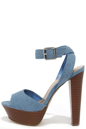 Casual Connoisseur Blue Denim Platform Heels at Lulus.com!