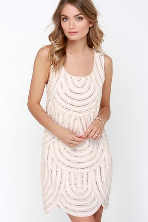 Flirty Flapper Beige Sequin Shift Dress at Lulus.com!