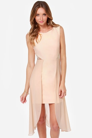 Making Trends Meet Beige High-Low Dress
