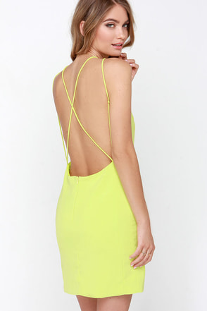 Home At Dawn Chartreuse Backless Dress at Lulus.com!