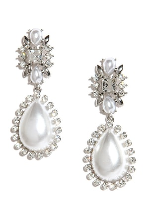Lord and Lady Silver and Pearl Earrings at Lulus.com!