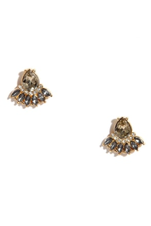 Above the Clouds Grey Rhinestone Earrings at Lulus.com!