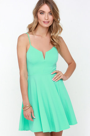 Best Place to V Mint Green Skater Dress at Lulus.com!