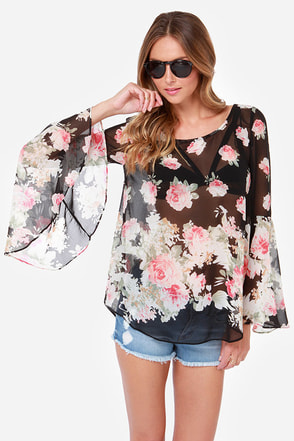 Total Utopia Black Floral Print Top