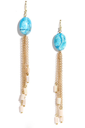 Tide Poolside Gold and Blue Earrings at Lulus.com!