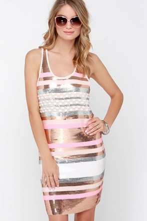 Sunset Strip Bronze and Pink Striped Sequin Dress at Lulus.com!