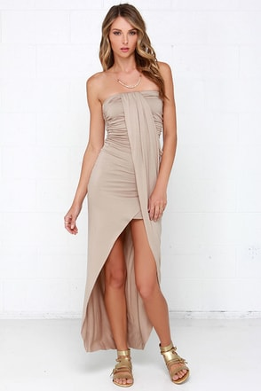 Fools Ruche In Black Strapless Dress at Lulus.com!