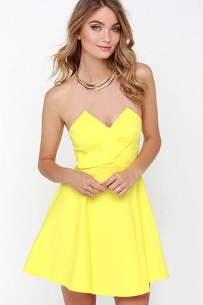 Flare Thee Well Yellow Strapless Skater Dress at Lulus.com!