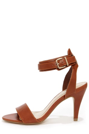 City Classified Sigman Tan Ankle Strap Heels