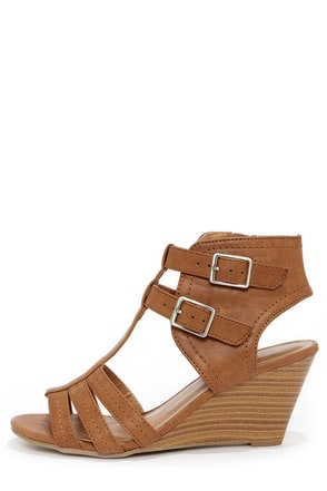City Classified Heart Tan Caged Wedge Sandals