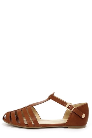 Paprika Jarrow Tan Strappy Flat Sandals