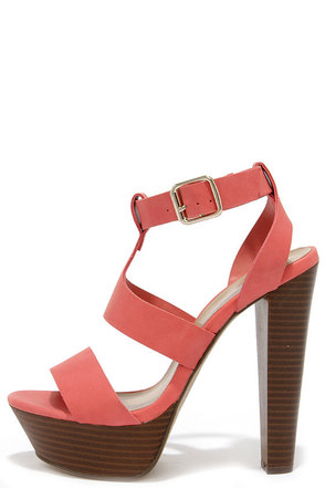 High Rise and Shine Grapefruit Platform Heels at Lulus.com!