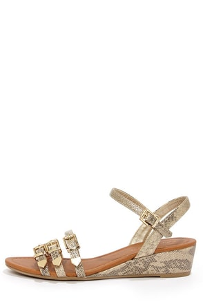 City Classified Pinkie Light Gold Snakeskin Patent Wedge Sandals