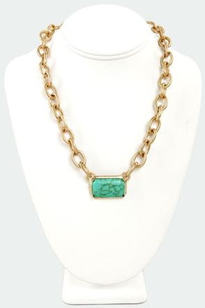 Ingot Bergman Gold and Green Necklace
