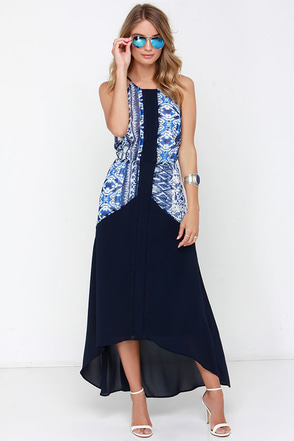 All the Right Angles Navy Blue Print High-Low Dress at Lulus.com!