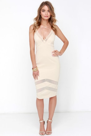 Untamed Dame Beige Midi Dress at Lulus.com!