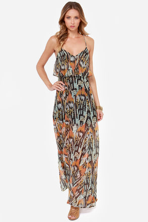 RVCA Jump at Chance Multi Print Maxi Dress