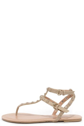 Rock Star Stunner Natural Studded Thong Sandals at Lulus.com!