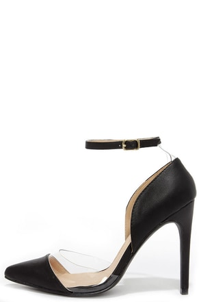 Clearly Chic Black Lucite Heels at Lulus.com!
