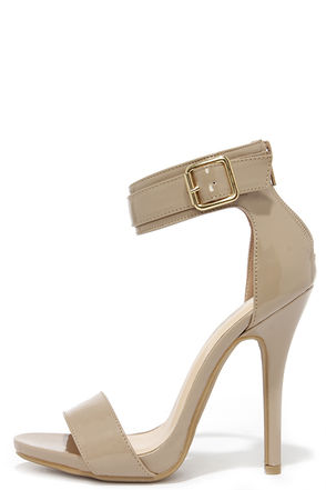 Be My Bae Natural Patent Ankle Strap Heels at Lulus.com!