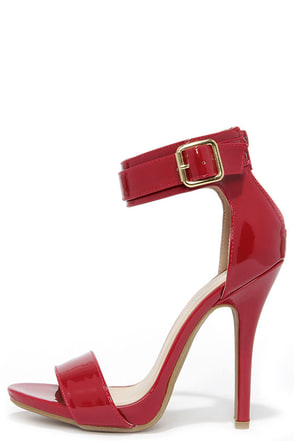 Be My Bae Dark Red Patent Ankle Strap Heels at Lulus.com!
