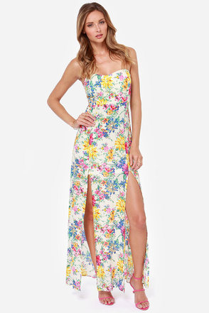 Reverse Secret Garden Strapless Floral Print Maxi Dress