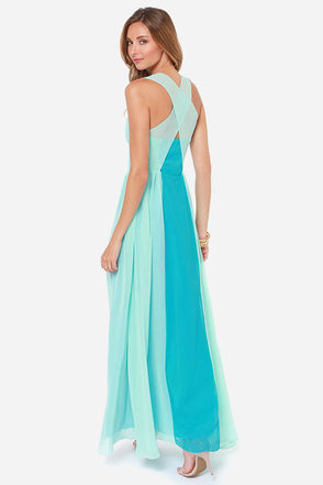 Sunset Serenade Mint and Blue Maxi Dress