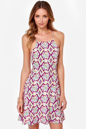 Full-Time Flirt Purple Print Dress