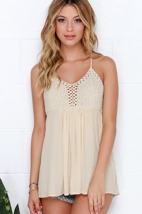 That's That Beige Crochet Top at Lulus.com!