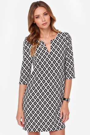 Haute in the City Black and White Print Shift Dress