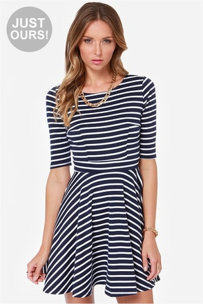 LULUS Exclusive Just a Twirl Navy Blue Striped Dress