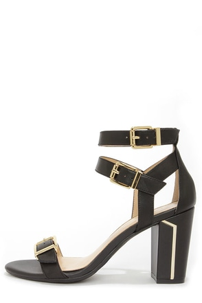 Jessica Simpson Julinda Black Leather Ankle Strap Heels