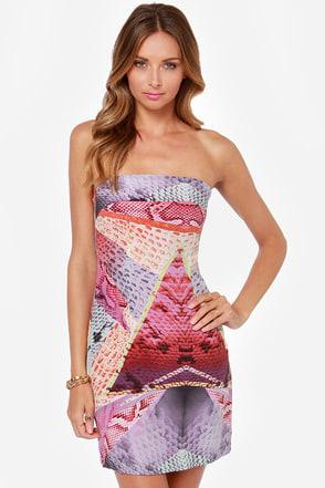 Boldly Go Strapless Purple Print Silk Dress at Lulus.com!