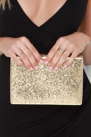 Twinkle, Twinkle Gold Glitter Clutch at Lulus.com!