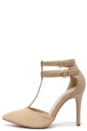 Wild Diva Lounge Bessy 32 Natural Suede T Strap Heels at Lulus.com!
