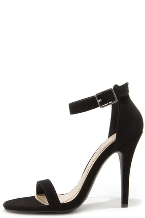 Anne Michelle Enzo 01N Black Nubuck Single Strap Heels at Lulus.com!
