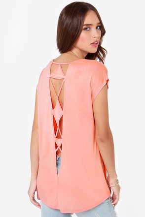 Volcom Get Low Cutout Coral Top
