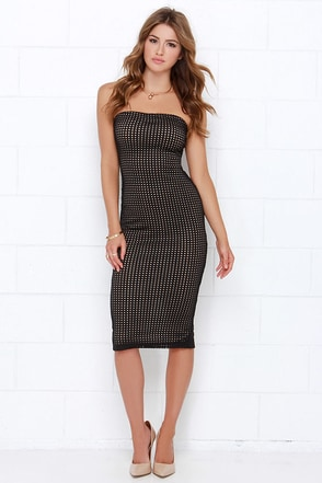 Picture Perforated Nude and Black Strapless Midi Dress at Lulus.com!