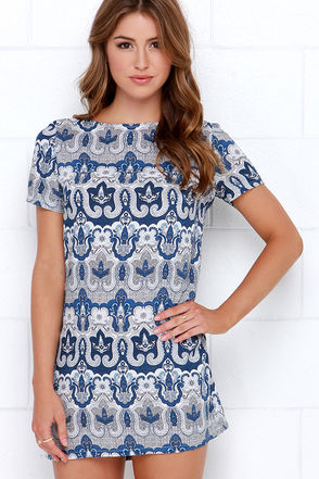 Glamorous Scroll with the Flow Navy Blue Print Shift Dress at Lulus.com!