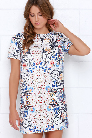 Glamorous In the Mirror Ivory Floral Print Shift Dress at Lulus.com!