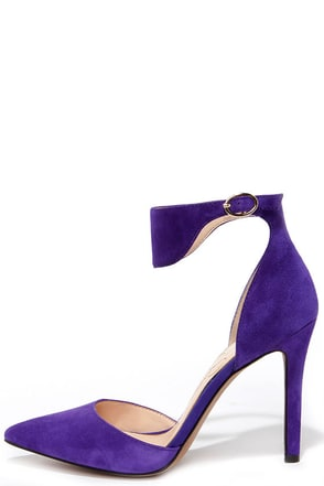 Jessica Simpson Cita Regal Purple Suede Leather Pointed Heels at Lulus.com!