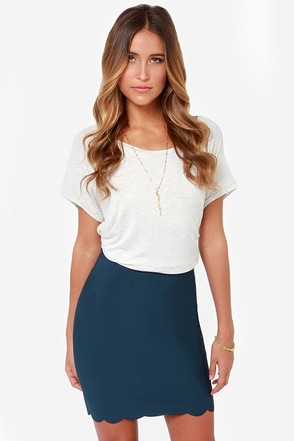 Break Into a Scallop Navy Blue Pencil Skirt