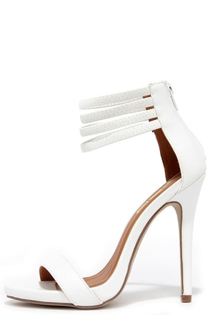 First Prize White Ankle Strap Heels at Lulus.com!
