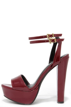 Miss World Burgundy Patent Platform Heels at Lulus.com!