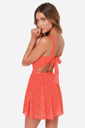 Rhythm Polka Daisy Red Orange Print Dress