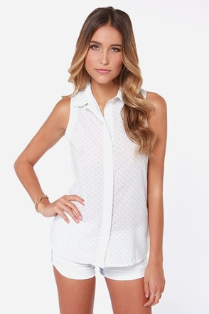 Rhythm Polka Daisy White Print Sleeveless Top