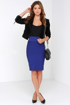 Beyond Words Royal Blue Bandage Midi Skirt at Lulus.com!