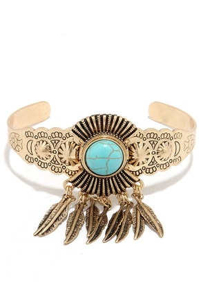 Soaring High Turquoise and Gold Bracelet at Lulus.com!