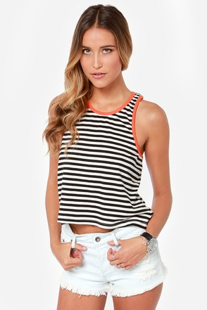 Rhythm The Strokes Swing Black and White Striped Top