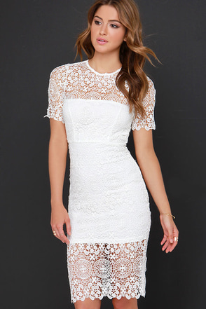Sunday Fun Day Ivory Lace Midi Dress at Lulus.com!